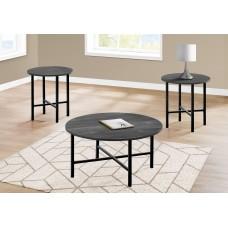 I 7970 P TABLE SET - 3PCS SET / BLACK RECLAIMED WOOD / BLACK METAL