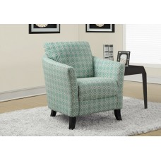 """I 8003 ACCENT CHAIR - FADED GREEN """" ANGLED KALEIDOSCOPE """" FABRIC"""