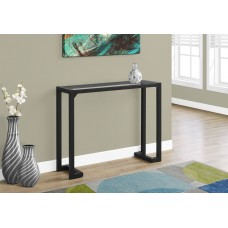 """I 2106 ACCENT TABLE - 42""""L / BLACK / TEMPERED GLASS HALL CONSOLE"""