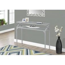 """I 2115 ACCENT TABLE - 42""""L / SILVER METAL HALL CONSOLE"""
