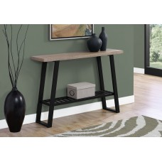 """I 2117 ACCENT TABLE - 48""""L / DARK TAUPE / BLACK HALL CONSOLE"""