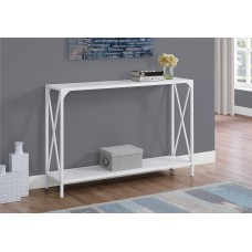 """I 2124 ACCENT TABLE - 48""""L / WHITE / WHITE METAL HALL CONSOLE"""