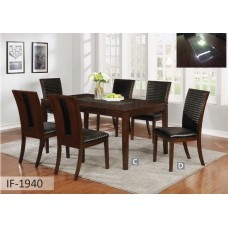 IF-1940 7 PC.DINING SET WITH GLASS INLAY DESIGN