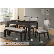 T-1540 C-1541 TABLE+6 CHAIRS (NO BENCH)