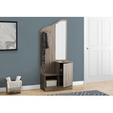 "I 2775 HALL TREE - 75""H / DARK TAUPE STORAGE UNIT / MIRROR"