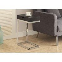 I 3019 ACCENT TABLE - ESPRESSO / CHROME METAL WITH A DRAWER