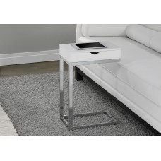 I 3031 ACCENT TABLE - CHROME METAL / GLOSSY WHITE WITH A DRAWER