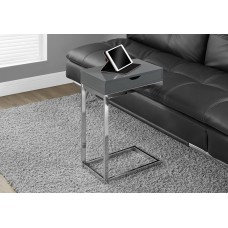 I 3032 ACCENT TABLE - CHROME METAL / GLOSSY GREY WITH A DRAWER