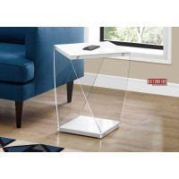 """I 3033 ACCENT TABLE - 22""""H / GLOSSY WHITE / CLEAR ACRYLIC"""