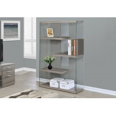 """I 3052 BOOKCASE - 60""""H / DARK TAUPE WITH TEMPERED GLASS (LAST)"""