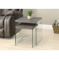 I 3053 NESTING TABLE - 2PCS SET / DARK TAUPE / TEMPERED GLASS