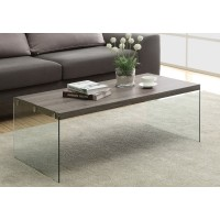 I 3054 COFFEE TABLE - DARK TAUPE WITH TEMPERED GLASS