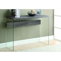 """I 3055 ACCENT TABLE - 44""""L / DARK TAUPE / TEMPERED GLASS"""