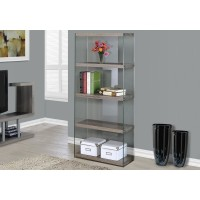"I 3060 BOOKCASE - 60""H / DARK TAUPE WITH TEMPERED GLASS"