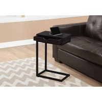 I 3069 ACCENT TABLE - ESPRESSO / BLACK METAL WITH A DRAWER