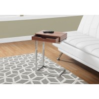 I 3070 ACCENT TABLE - WALNUT / CHROME METAL WITH A DRAWER