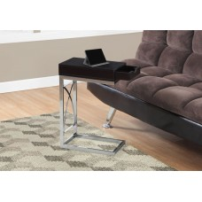 I 3172 ACCENT TABLE - CHROME METAL / ESPRESSO WITH A DRAWER