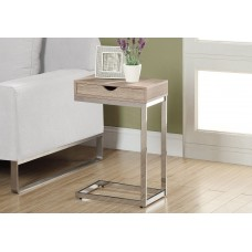 I 3204 ACCENT TABLE - CHROME METAL / NATURAL WITH A DRAWER