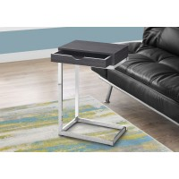 I 3229 ACCENT TABLE - CHROME METAL / GREY WITH A DRAWER