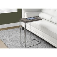 I 3253 ACCENT TABLE - DARK TAUPE WITH CHROME METAL