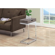 I 3254 ACCENT TABLE - CHROME METAL / DARK TAUPE WITH A DRAWER