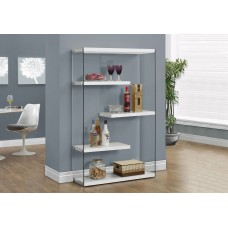 "I 3290 BOOKCASE - 60""H / GLOSSY WHITE WITH TEMPERED GLASS"