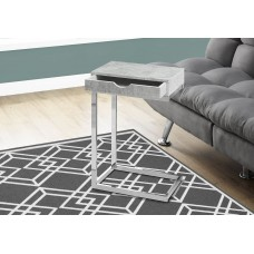 I 3373 ACCENT TABLE - CHROME METAL / GREY CEMENT WITH A DRAWER