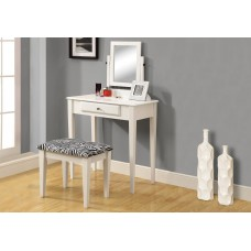 I 3390 VANITY SET - 2PCS SET / WHITE WITH A ZEBRA FABRIC STOOL
