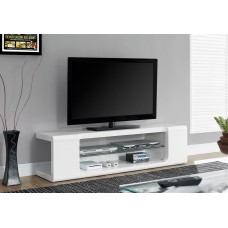 "I 3535 TV STAND - 60""L / HIGH GLOSSY WHITE WITH TEMPERED GLASS"