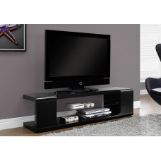 "I 3536 TV STAND - 60""L / HIGH GLOSSY BLACK WITH TEMPERED GLASS"