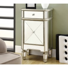 """I 3702 ACCENT CHEST - 29""""H / BRUSHED SILVER WITH MIRROR"""