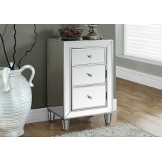 """I 3706 ACCENT TABLE - 29""""H / BRUSHED SILVER / MIRROR"""