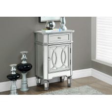 """I 3707  ACCENT TABLE - 29""""H / BRUSHED SILVER / MIRROR"""