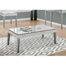"""I 3720 COFFEE TABLE - 48""""X 24"""" / BRUSHED SILVER / MIRROR"""