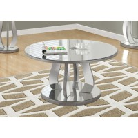 """I 3725 COFFEE TABLE - 36""""DIA / BRUSHED SILVER / MIRROR"""