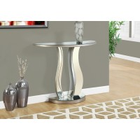 """I 3727 ACCENT TABLE - 36""""L / BRUSHED SILVER / MIRROR"""