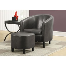 I 8054 ACCENT CHAIR - 2PCS SET / CHARCOAL GREY LEATHER-LOOK