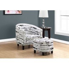 I 8057 ACCENT CHAIR - 2PCS SET / GREY-BLACK BRUSH DESIGN FABRIC