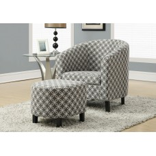 "I 8060 ACCENT CHAIR - 2PCS SET / GREY "" CIRCULAR "" FABRIC"