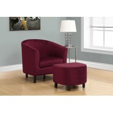I 8231 ACCENT CHAIR - 2PCS SET / DARK RED FLORAL VELVET