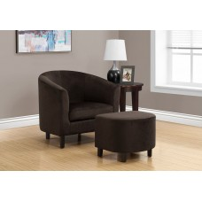 I 8233 ACCENT CHAIR - 2PCS SET / DARK BROWN FLORAL VELVET
