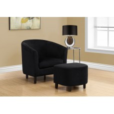 I 8234 ACCENT CHAIR - 2PCS SET / BLACK FLORAL VELVET