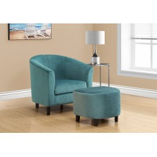 I 8238 ACCENT CHAIR - 2PCS SET / TURQUOISE QUILTED FABRIC