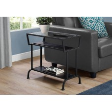 """I 2066 ACCENT TABLE - 22""""H / CAPPUCCINO / BLACK / TEMPERED GLASS"""