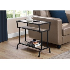 """I 2067 ACCENT TABLE - 22""""H / DARK TAUPE / BLACK / TEMPERED GLASS"""