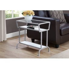 """I 2068 ACCENT TABLE - 22""""H / WHITE / SILVER / TEMPERED GLASS"""