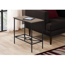 """I 2075 ACCENT TABLE - 22""""H / DARK TAUPE / BLACK METAL"""