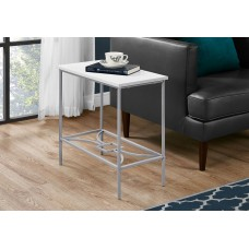 """I 2077 ACCENT TABLE - 22""""H / WHITE / SILVER METAL"""