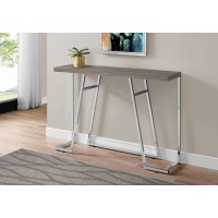 """I 3169 ACCENT TABLE - 48""""L / DARK TAUPE / CHROME METAL"""