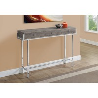 """I 3299 ACCENT TABLE - 48""""L / DARK TAUPE / CHROME METAL"""